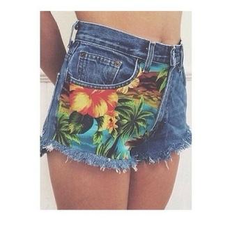 shorts short flowers hawaii fleurs fleur summer shorts