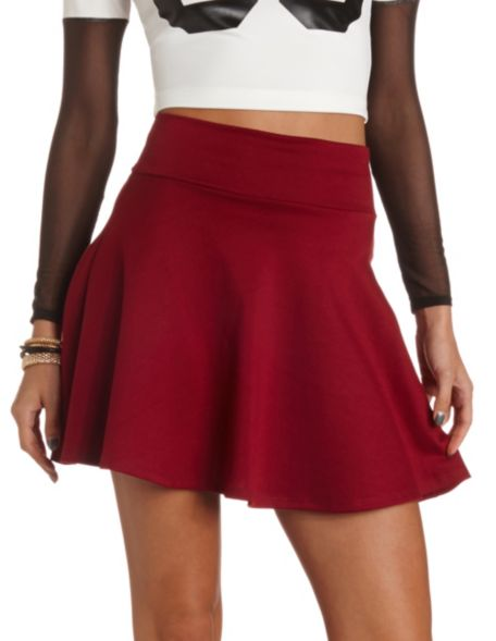 solid high waisted skater skirt russe