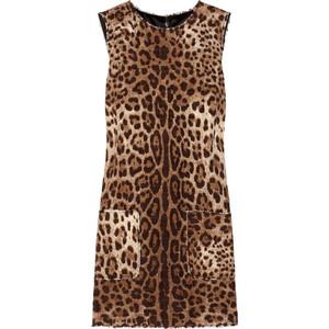Dolce & Gabbana Leopard-print tweed mini dress - Polyvore