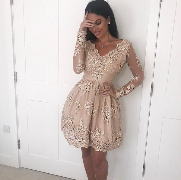 Fabulous A Line V Neck Long Sleeves Champagne Short Homecoming Dress with Lace Appliques