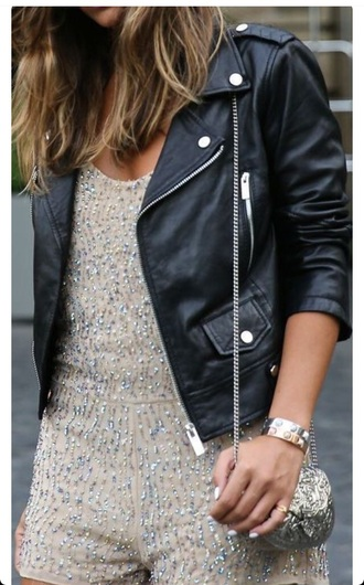 jacket leather leather jacket black black leather jacket girl cute romper silver edgy purse street streetstyle model