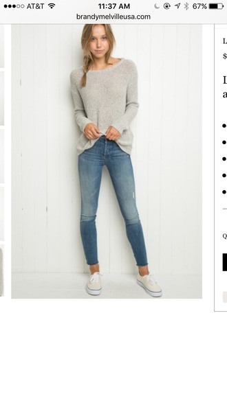 jeans denim high waisted jeans sweater alexis ren brandy melville vans fashion style light blue