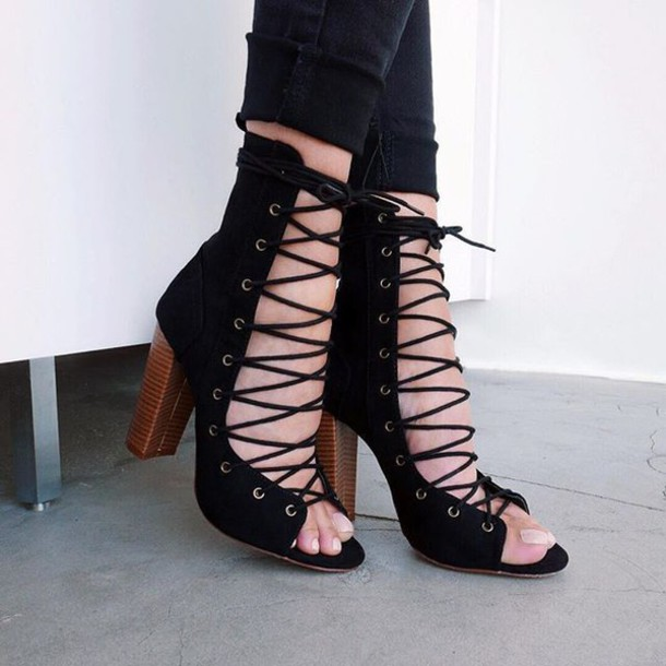 07eefa030c shoes heels strappy strappy heels chunky sole chunky heels win contest lace  up gojane