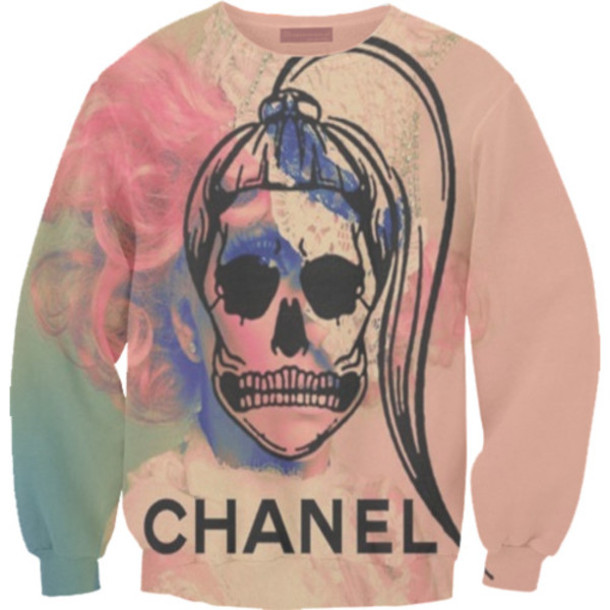 sweater chanel rainbow rainbow shirt rainbow print colourful skull girl fab tie dye