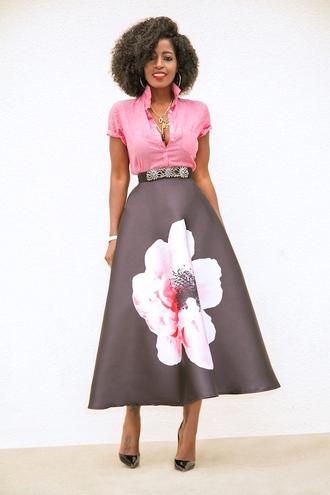 blogger shirt skirt shoes pink shirt midi dress pumps high heel pumps