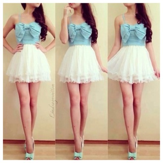 dress blue and white big bow