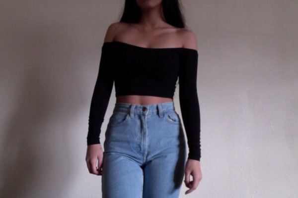 top crop tops black cut offs cute hot black top sexy jeans skinny jeans denim high waisted jeans