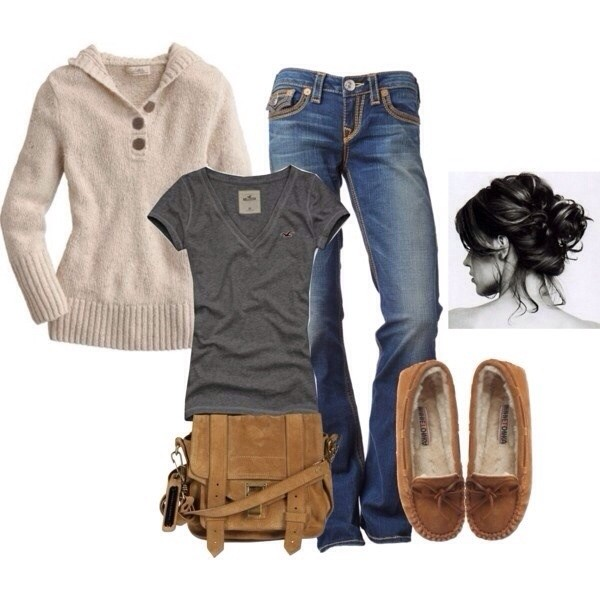 jeans shirt shoes sweater bag