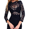 Long sleeve scalloped crochet bandage dress black