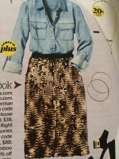skirt glittery gold skirt