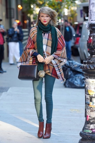 taylor swift plaid top pants scarf celebrity style new york city outfit ootd bag shoes coat cardigan