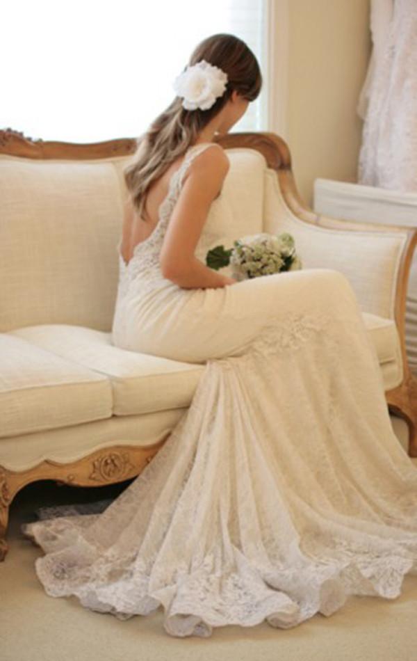 Dress lace dress wedding dress backless low back lace for Low cut back wedding dress