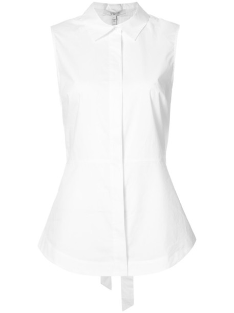 Derek Lam 10 Crosby - Sleeveless Button-Down Shirt With Lace Up Back - women - Cotton - 6, White, Cotton