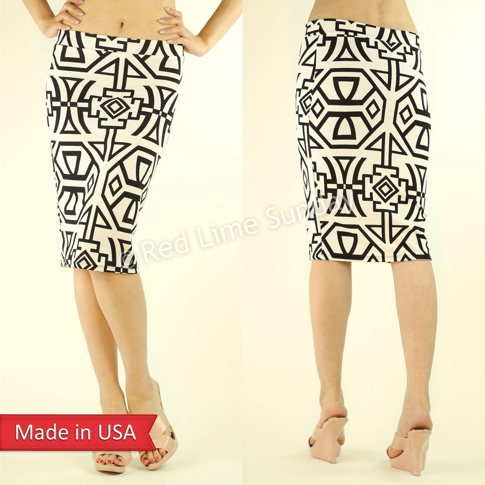 New Women Chic Geometric Aztec Print Black Ivory Popcorn Fabric Pencil Skirt USA