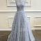 A-line round neck tulle lace long gray prom dress, bridesmaid dress - 24prom