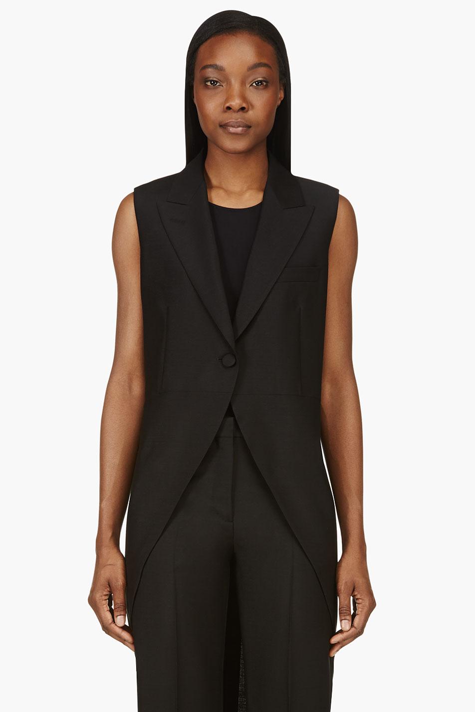 Maison martin margiela black cinch waist tails vest