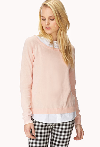 Shirt Inset Raglan Sweater | FOREVER21 - 2030187124