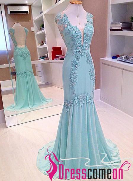 Light Blue Lace Prom Dress Light Blue Evening Dress