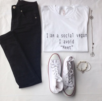 shirt social vegan avoid meet funny quote on it