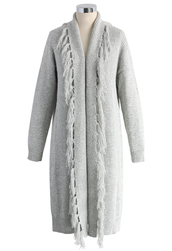 coat,fringed open-front cardigan in grey,chicwish,grey