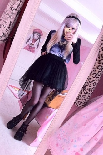 skirt black black tulle skirt tulle skirt pastel goth cute skirts dress shoes tights red lime sunday