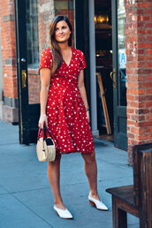 dress,red dress,mules,shoes,white mules,bag,round bag