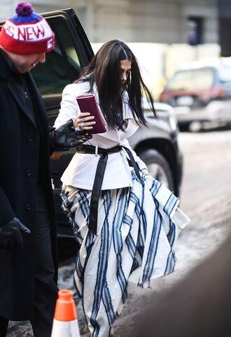 dress nyfw 2017 fashion week 2017 fashion week streetstyle stripes striped dress maxi dress long dress blazer white blazer belt