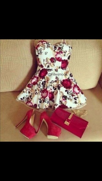 dress white dress high heels white floral short dress floral plus size plus size dresses plus size dress red heels white red pretty