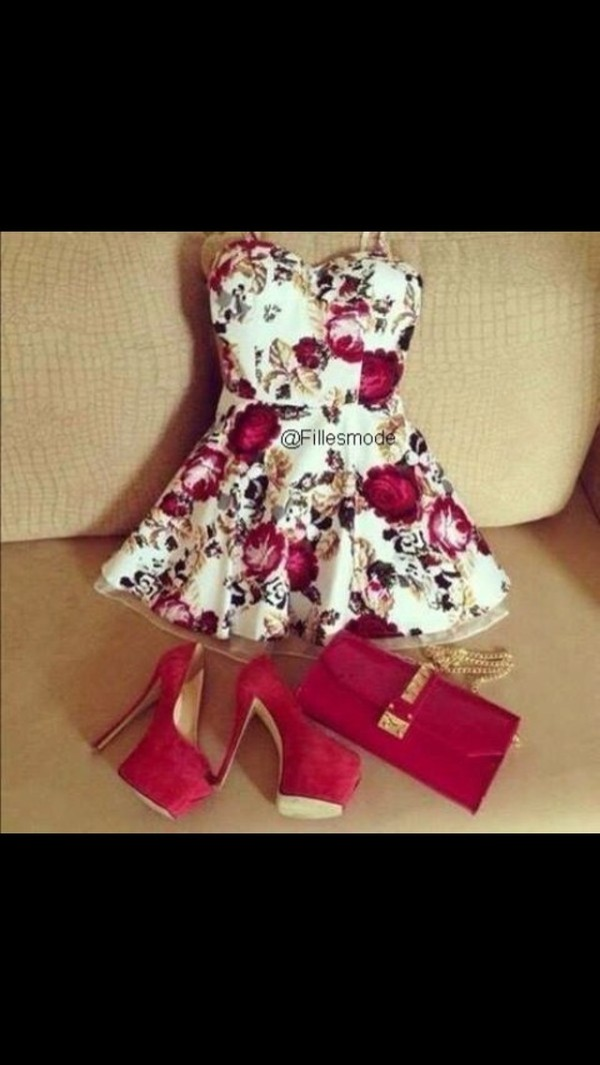 dress red floral pretty white shoes bag