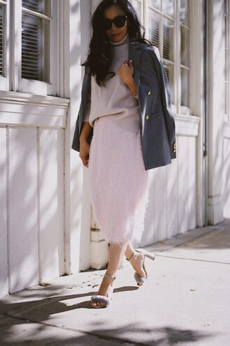 hallie daily blogger jacket sweater skirt shoes blazer turtleneck sweater sandals fringe skirt fall outfits