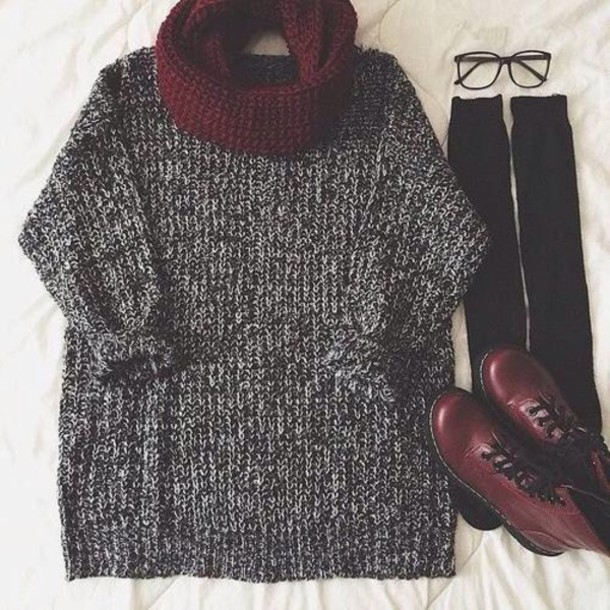 scarf sweater socks shoes