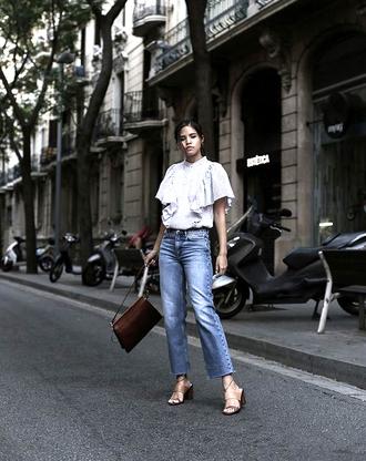 top tumblr stripes striped top denim jeans blue jeans bag sandals sandal heels shoes
