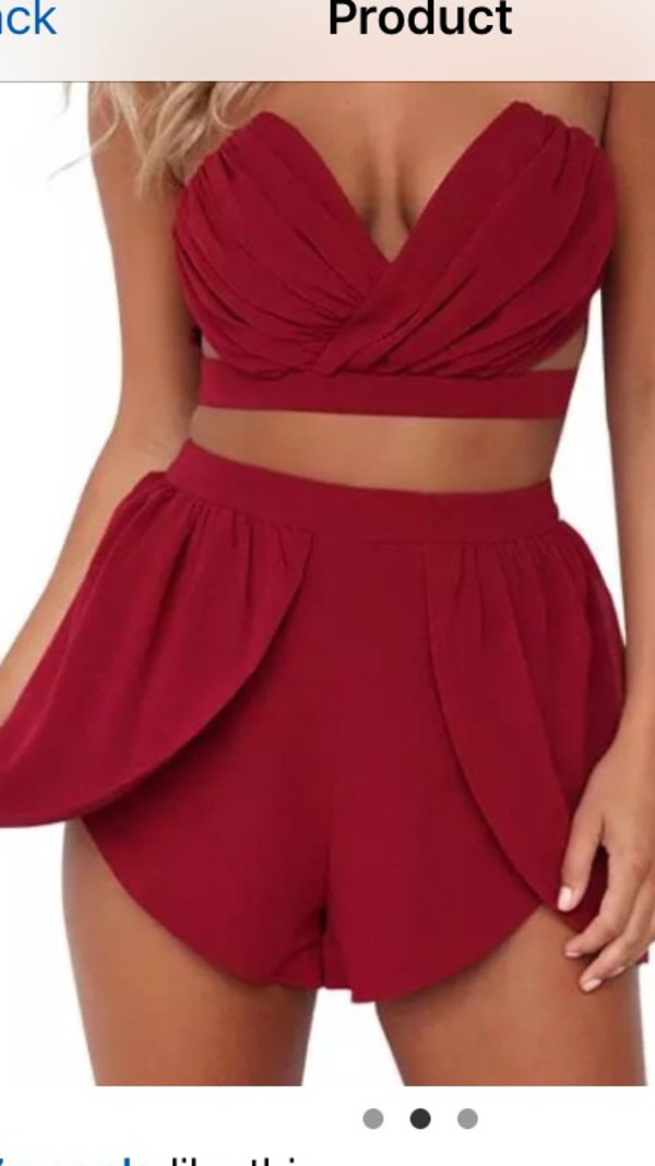 shorts romper red two-piece strapless crop tops summer matching set