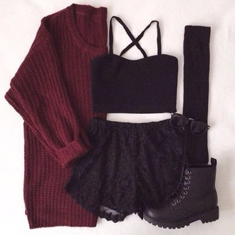 sweater shoes shirt skirt