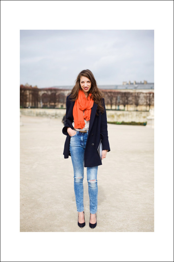 le fashion image blogger scarf jeans