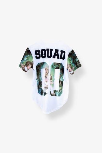 blouse 90s style squad t shirt print cute t-shirt shirt 00s jersey