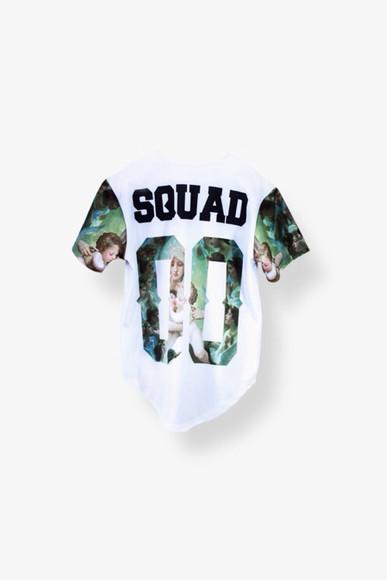 shirt jersey t-shirt blouse 90s style squad t shirt print cute shirt 00s