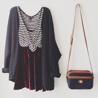 shirt striped top red velvet velvet skirt cardigan bag hipster skater skirt grey cardigan