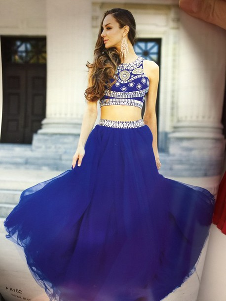 Dress 2 Pieces Prom Dress Long Sexy Royal Blue Prom Dress Prom
