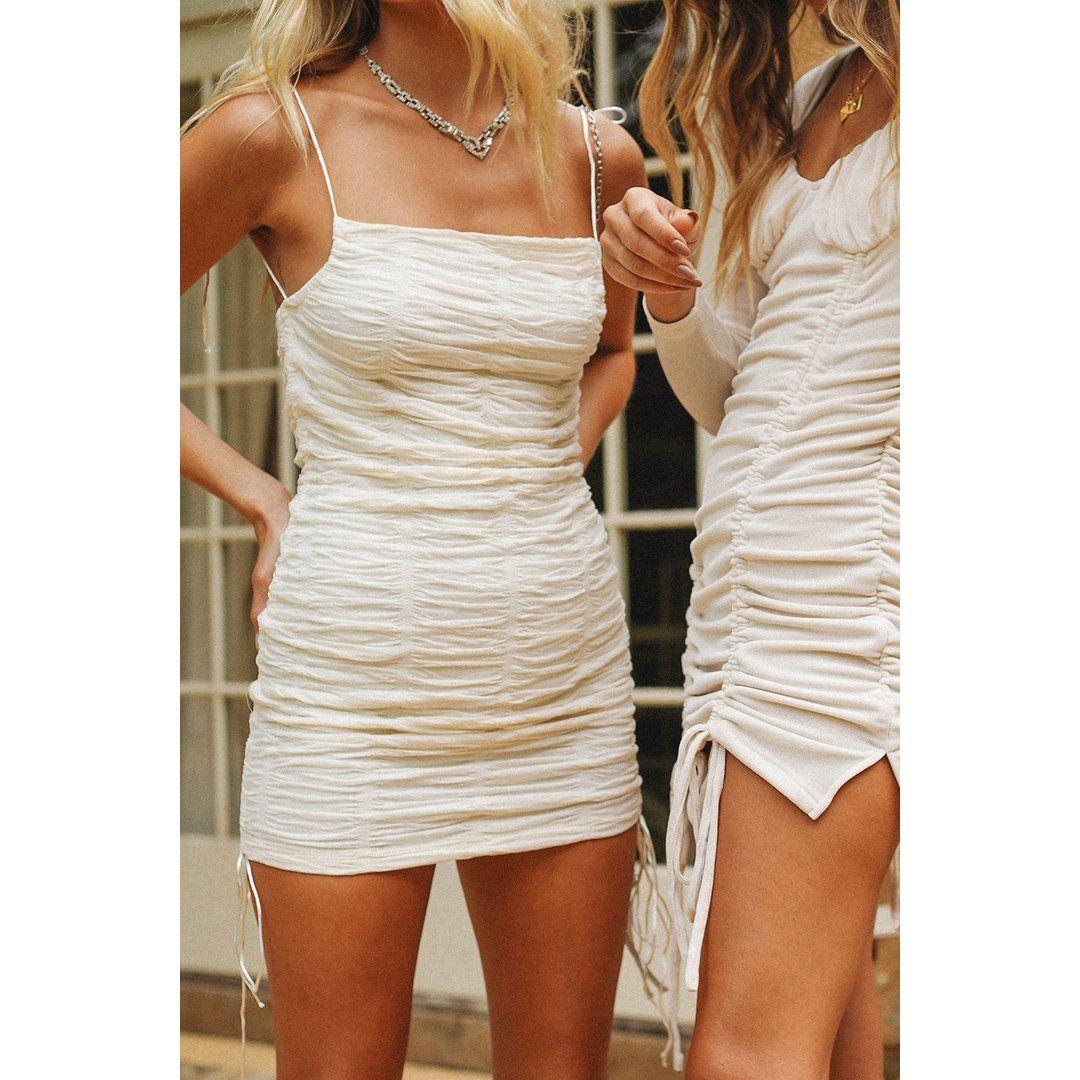 VG Summer In Capri Ruched Mini Dress // Cream