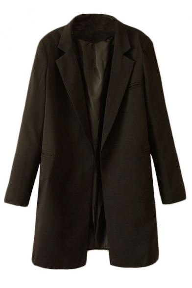 Plain notched collar long blazer with pockets