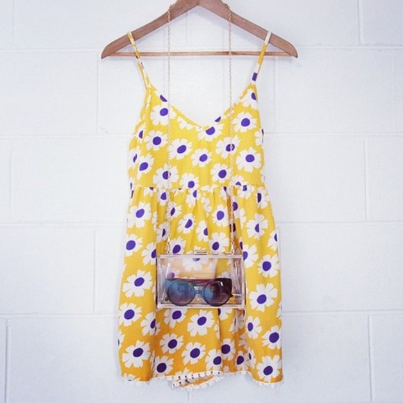 dress floral yellow sundress bag