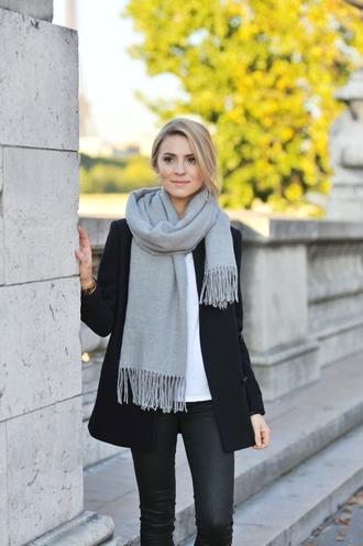 coat jacket black girl blond paris white grey scarf
