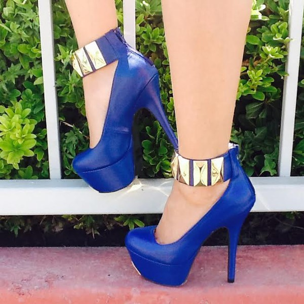 shoes heels sexy heels ankle strap goldanklestraps high heels blue high heels blue high heels with gold