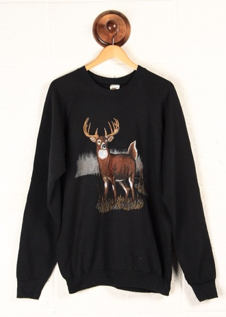 sweater black crewneck hipster fall sweater deer