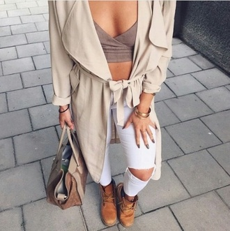 coat beige waterfall jeans boyfriend ripped shoes heels brette crop tops tank top cardigan bag fashion classy