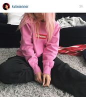 sweater,kylie jenner,pink,supreme,cute,women,sweatshirt,instagram,kylie jenner instagram,pink sweater,supreme sweater,tumblr,grunge,barbie
