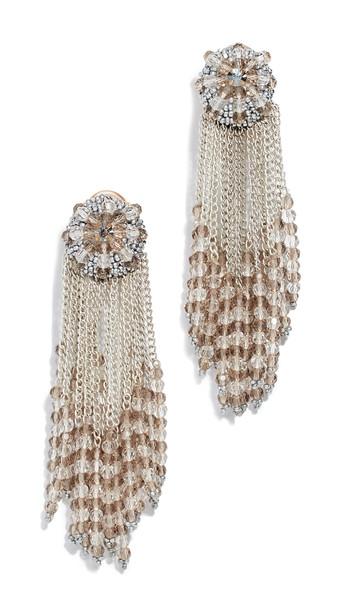 Oscar de la Renta Chain Cluster Beaded Earrings in silver