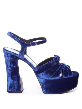bow candy sandals platform sandals velvet blue shoes