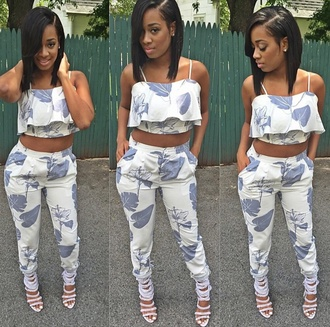 blouse pants set crop top pants set crop tops pants leaves white blue silver